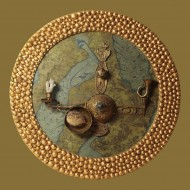 Beethoven's love letters, tehnica asamblaj- ceramica, bronz, coral albastru, 80x80 cm