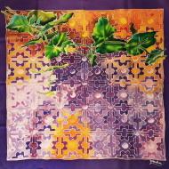 EUPHORIA, Habotai silk 8 mm, batik technique, reactive colors, 60x60cm