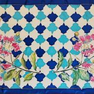 MYRTLE WINGS , Twill silk 12 mm, batik technique, reactive colors, 180x80 cm