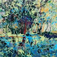 Verde Paesaggio, 100 X 70, smalto su tela